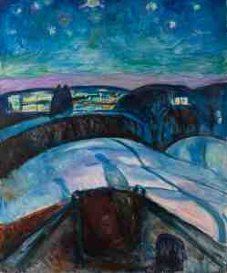 Starry Night, 1922–24, Edvard Munch. Oil on canvas. Munch Museum, Oslo