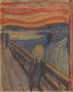 The Scream, 1893, Edvard Munch. Tempera and crayon on cardboard. National Museum of Art, Architecture and Design, Oslo