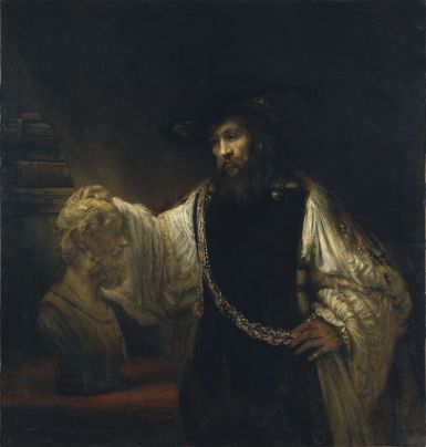 Aristotle with a Bust of Homer, 1653, Rembrandt van Rijn. Oil on canvas. The Metropolitan Museum of Art, New York.
