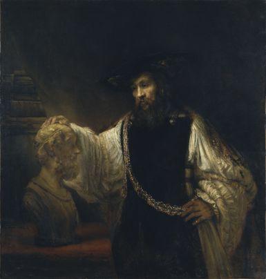 Aristotle with a Bust of Homer, 1653, Rembrandt van Rijn. Oil on canvas. The Metropolitan Museum of Art, New York.
