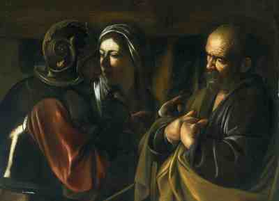 The Denial of Saint Peter, Ca. 1610, Caravaggio. Oil on canvas. The Metropolitan Museum of Art, New York.