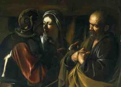 The Denial of Saint Peter, Ca. 1610, Caravaggio. Oil on canvas. The Metropolitan Museum of Art, New York.