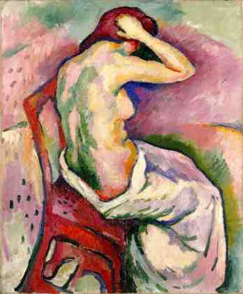 Seated Nude Combing Her Hair, 1906, Georges Braque. Oil on canvas.  Milwaukee Art Museum, United States.