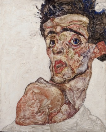 Self Portrait with Raised Bared Shoulder, 1912, Egon Schiele. Oil on wood. © Leopold Museum Private Foundation, Vienna