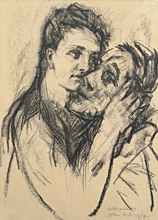 Alma Mahler and Oskar Kokoschka, 1913, Oskar Kokoschka. Carboncillo y tiza blanca sobre papel. Leopold Museum, Viena.