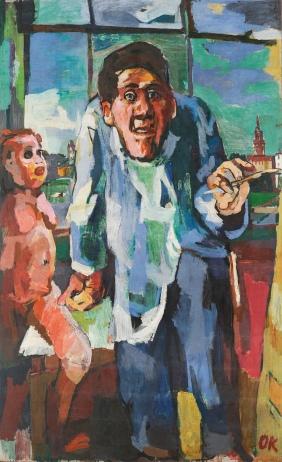 Self-Portrait at the Easel, 1922, Oskar Kokoschka. Oil on canvas. Colección Leopoldo II.
