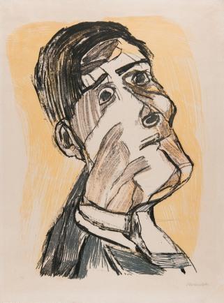 Self-Portrait from two Sides, 1923, Oskar Kokoschka. Chalk lithography, four tones. Museum der Moderne Salzburg.