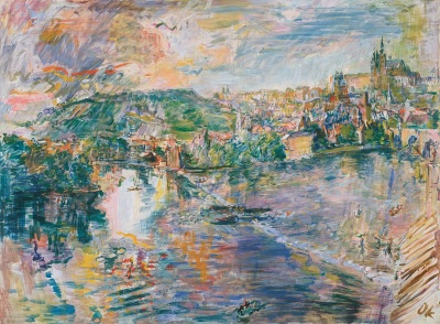 Prague, View from the Moldova Pier IV, 1936, Oskar Kokoschka. Oil on canvas. The Phillips Collection, acquired 1938.